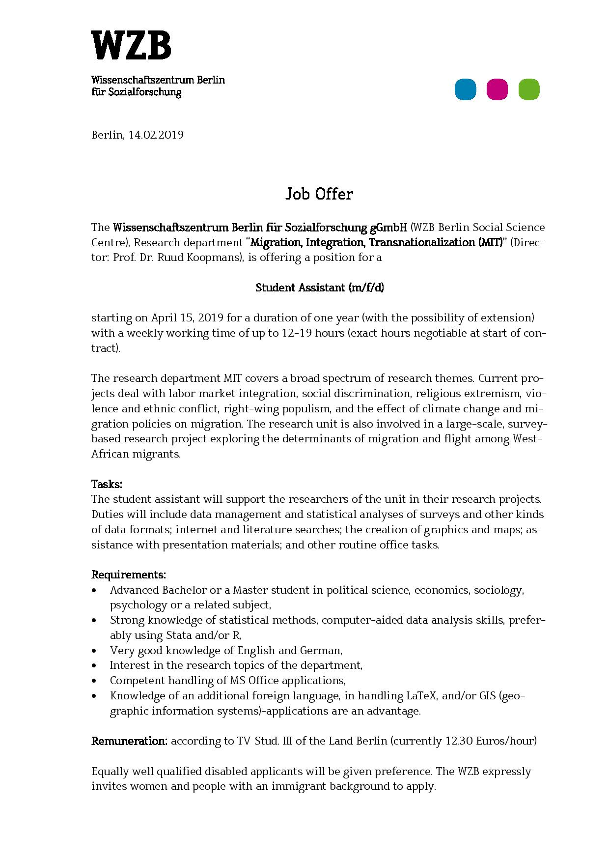Student Assistant Position at WZB |